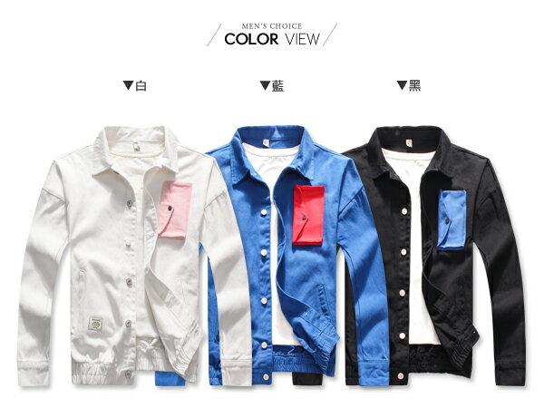 ☆BOY-2☆ 【NQ98066】潮流跳色前口袋單寧外套 1
