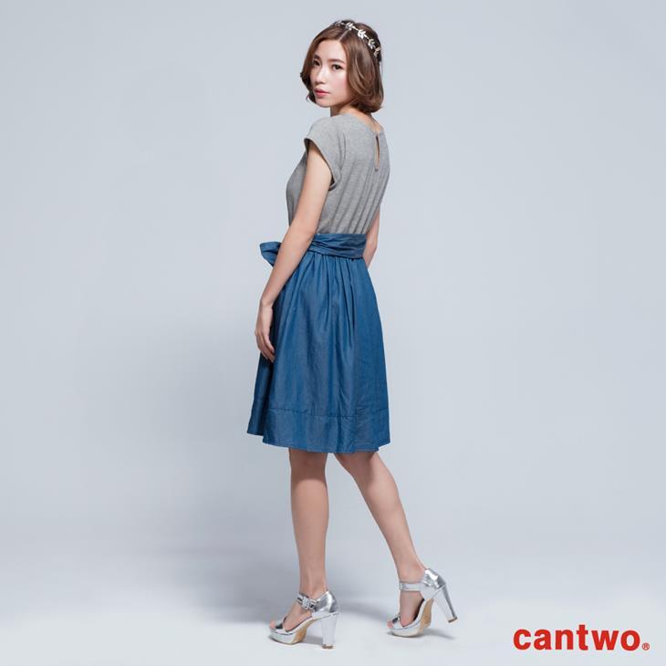 cantwo鑽飾小包袖丹寧系洋裝(共三色) 2