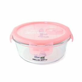 ★衛立兒生活館★HELLO KITTY 耐熱玻璃保鮮盒-圓型(710ml)