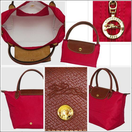 [短柄S號]國外Outlet代購正品 法國巴黎 Longchamp [1621-S號] 短柄 購物袋防水尼龍手提肩背水餃包 桃紅色 3