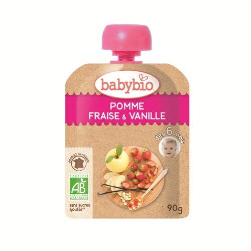 【安琪兒】法國【倍優babybio】有機蘋果草莓纖果泥90g(6個月) - 限時優惠好康折扣