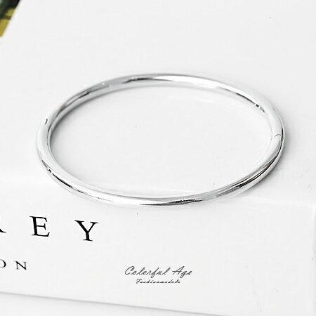 925純銀手鍊 素雅亮面橢圓形手環 可混搭手錶或單配 都會女伶氣質感 柒彩年代【NPA11】可打開好配戴 0
