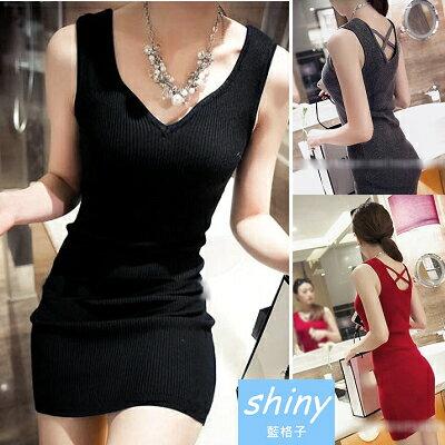 【V0823】shiny藍格子-修身線條.V領露背交叉無袖背心連身裙