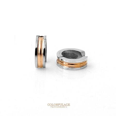 耳環 超實用亮眼玫瑰金夾式免打耳洞耳環 白鋼材質抗過敏.氧化 柒彩年代【ND204】單支售價 0