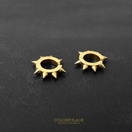耳環 潮流金色龐克鉚釘設計夾式免打耳洞耳環 白鋼材質抗過敏.氧化 柒彩年代【ND207】單支售價