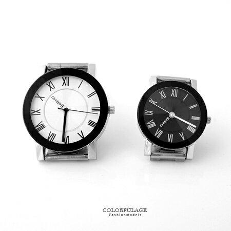 手錶 獨特分針錶盤羅馬數字腕錶對錶 中性款設計男女皆可 禮物首選 柒彩年代【NE1552】 0