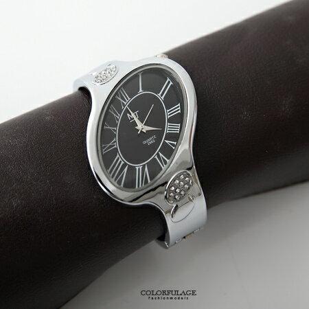 手錶 獨特不對稱橢圓造型羅馬數字手環式腕錶 鑲鑽點綴氣質女錶 柒彩年代【NE1568】單支售價 0