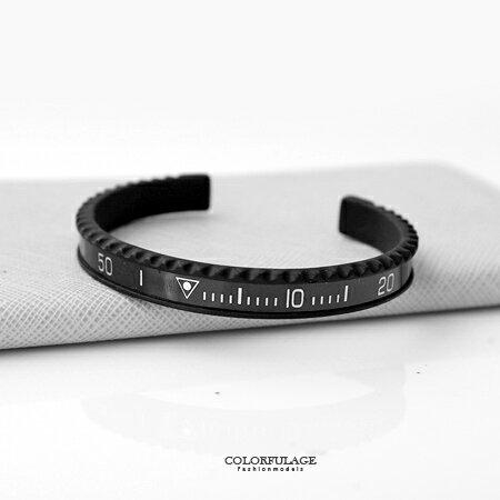 手環手鍊 質感黑色系刻度白鋼C型手環 配戴方便 流行單品中性款式 柒彩年代【NA331】數字線條 0