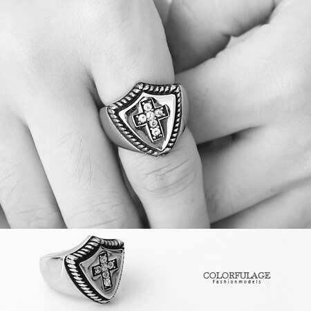 戒指 武士精神 水鑽十字架盾牌造型白鋼戒指 不易氧化退色.抗過敏 柒彩年代【NC178】型男單品 0