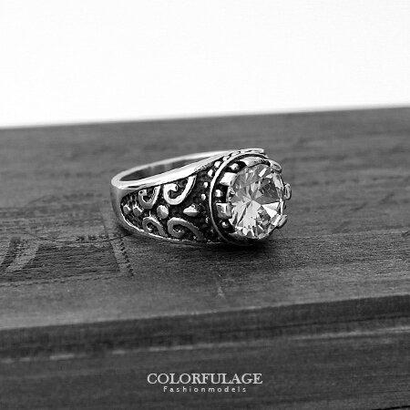 戒指 立體超大水鑽10MM造型寬版白鋼 精緻鑲鑽厚實實感 抗過敏氧化 柒彩年代【NC179】型男指環