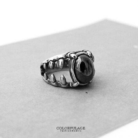 戒指 立體牙齒造型鑲嵌寶石款鋼製 造型搭配單品 創意不易撞款 柒彩年代【NC182】型男指環
