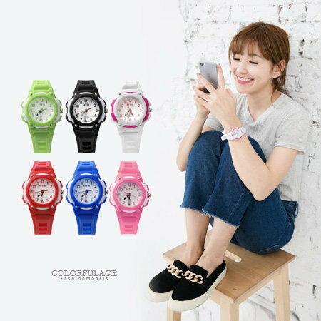 手錶 繽紛馬卡龍多色圓型小徑面設計指針腕錶膠錶 運動潮流新單品 柒彩年代【NE1500】單支售價 0
