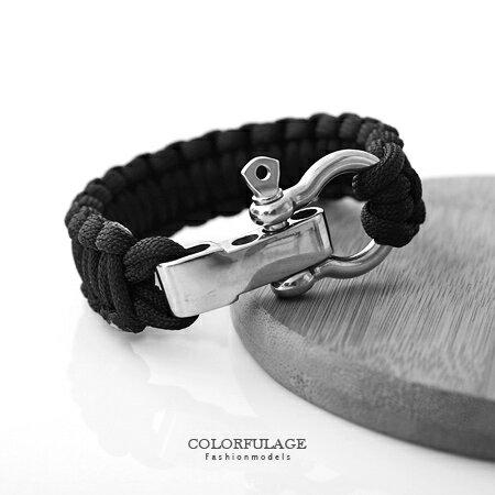 手環手鍊 粗曠厚實平結編織繩三孔鎖頭式手環 俐落個性鎖頭 平結手繩 柒彩年代【NA340】白鋼材質 0