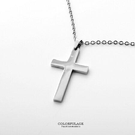 項鍊 簡約亮面經典大十字架白鋼 抗過敏抗氧化 穿搭超顯目 簡單俐落 柒彩年代【NB664】白鋼材質