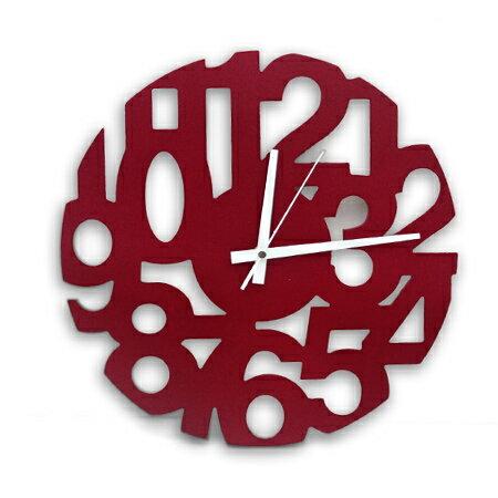 時鐘 喜氣洋洋全紅鏤空數字木質掛鐘 超薄輕巧居家生活 柒彩年代 台灣製造【NE1535】創意家飾