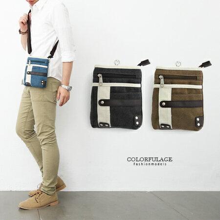 腰包 多功能厚實帆皮皮革雙色掛包 隨身側背包/手機包/零錢包 柒彩年代【NZ443】單個售價