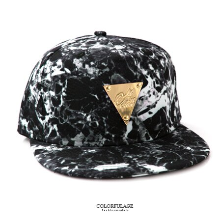 棒球帽 時尚潑墨感三角金牌潮流嘻哈平板帽 美式街頭風格 遮陽/造型兼具 柒彩年代【NH201】帆布帽 0