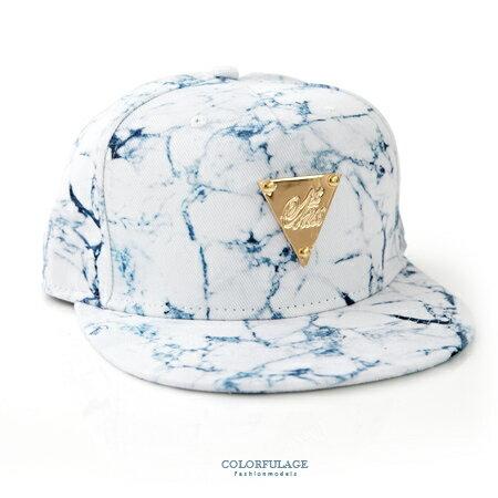 棒球帽 亮眼大理石裂紋三角金牌潮流嘻哈平板帽 美式風格 遮陽/造型兼具 柒彩年代【NH202】帆布帽 0