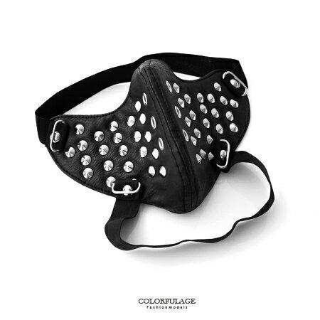 面罩 日系質感鉚釘造型皮革面具口罩 皮革製作龐克風格 柒彩年代【NM47】舞蹈表演配件 0