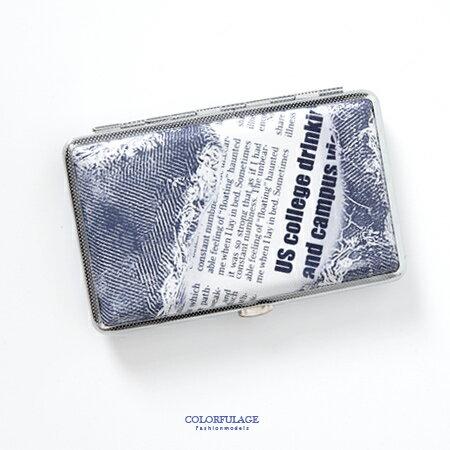 香菸盒 品味牛仔藍英文報紙圖案煙盒 潮流個性中性單品 輕巧時尚 柒彩年代【NL144】禮物首選 - 限時優惠好康折扣