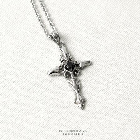項鍊 質感雕紋黑鑽十字架造型白鋼項鍊 立體感十足 抗過敏.氧化 柒彩年代【NB692】細緻呈現 0
