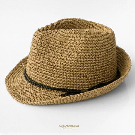 紳士帽 夏日渡假氣氛藤編帽 出門必備好搭配單品 遮陽防曬透氣舒適 柒彩年代【NH229】造型帽 - 限時優惠好康折扣