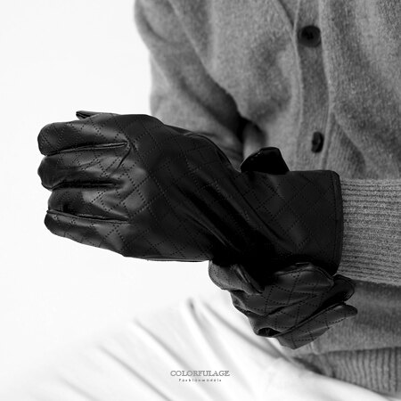 手套 防寒菱格紋皮革手套 柒彩年代【NMC1】 - 限時優惠好康折扣