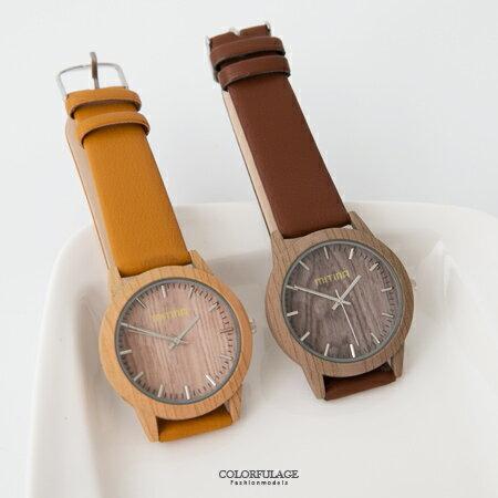 手錶 潮流復古仿木紋錶殼腕錶 質感皮革錶帶 文青風的首選 柒彩年代【NE1652】 0
