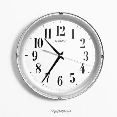 SEIKO精工時鐘 時尚立體感設計銀色外框掛鍾 清晰大數字 柒彩年代【NG1740】原廠公司貨 0