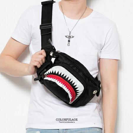 多用途背包 獨特造型運動風 鯊魚造型隨身腰包 可側背 防潑水設計 柒彩年代【NZ466】型男街頭 - 限時優惠好康折扣