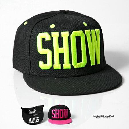 棒球帽 立體刺繡SHOW英文字母立體笑臉潮流嘻哈平沿帽 遮陽/造型兼具 柒彩年代【NH223】中性款式