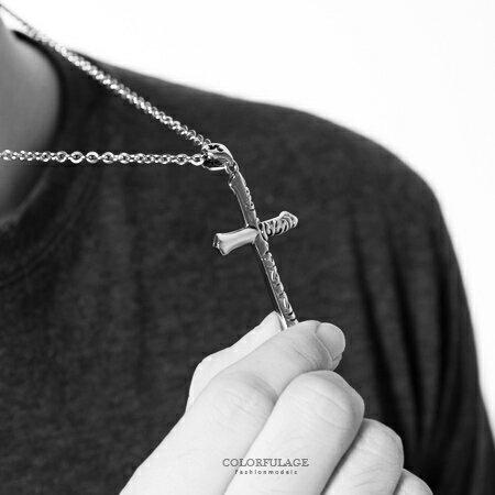 項鍊 經典十字架單邊鏤空設計白鋼項鍊 扣環別出心裁 抗過敏.氧化 柒彩年代【NB684】質感細緻 - 限時優惠好康折扣