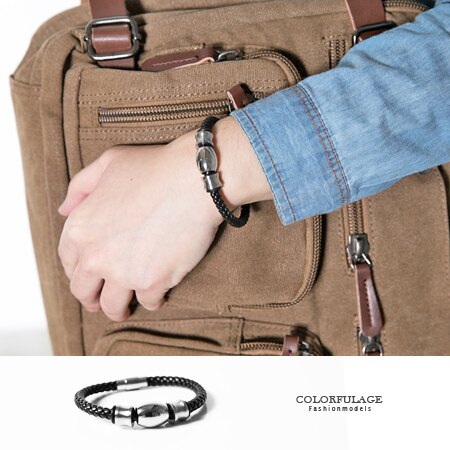 手鍊 時尚個性黑色編織皮革白鋼三環造型手環 經典潮流 專屬品味 柒彩年代【NA371】皮革元素 0