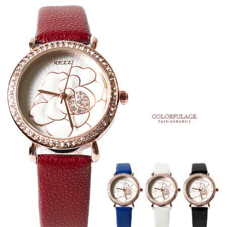 手錶 精緻花朵皮革腕錶 女孩百搭款 奧地利水鑽 玫瑰金錶殼 柒彩年代【NE1689】單支 0