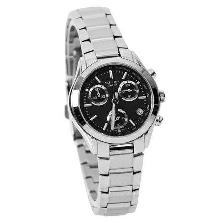 CASIO卡西歐 時尚都會女性真三眼黑面不銹鋼手錶 高貴典雅 機能性強 柒彩年代【NE1763】原廠公司貨 0