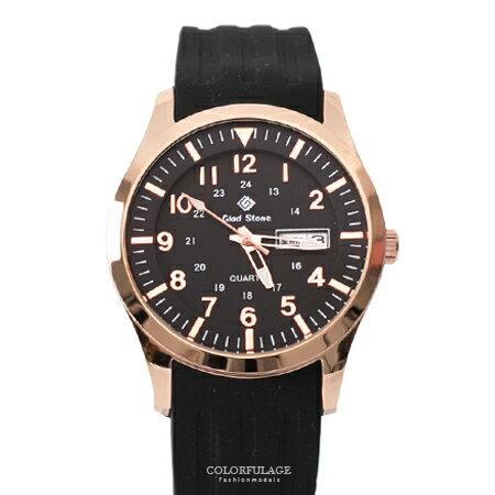 手錶 玫瑰金錶殼刻度數字黑面矽膠腕錶 搭戴SEIKO精工VX43石英機芯 柒彩年代【NE1794】30米防水 - 限時優惠好康折扣