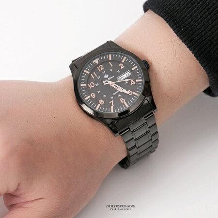 手錶 型男軍用玫瑰金數字全黑不鏽鋼腕錶 搭戴SEIKO精工VX43石英機芯 柒彩年代【NE1797】30米防水