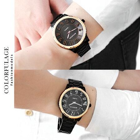 手錶 獨特逆轉機芯腕錶 時尚黑高磅數設計 浮雕刻度數字  柒彩年代【NE1191】單支 0