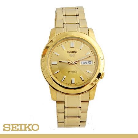 SEIKO精工五號 時尚尊爵金自動上鍊機械錶 不鏽鋼實心錶帶 柒彩年代【NE1220】附贈禮盒+提袋 0