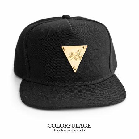潮流棒球帽 板帽 簡約素面帆布黑 金牌三角 硬挺材質 柒彩年代【NH144】可調式男女都適合 0