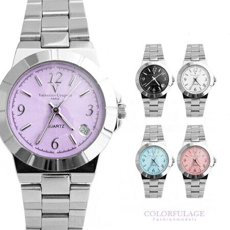 Valentino范倫鐵諾 基本款鏡面波浪壓紋日期視窗腕錶手錶 對錶大小款 柒彩年代【NE1224】原廠公司貨 0