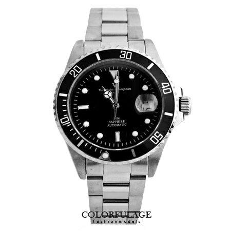 范倫鐵諾Valentino自動上鍊機械腕錶 背蓋鏤雕設計 經典水鬼款式 柒彩年代 【NE1228】原廠公司貨 0