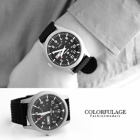 手錶 型男軍用帆布腕錶 搭戴SEIKO精工VX43石英機芯 柒彩年代【NE1240】單支