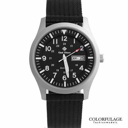 手錶 型男軍用帆布腕錶 搭戴SEIKO精工VX43石英機芯 柒彩年代【NE1240】單支 0