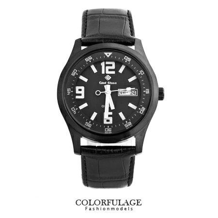 型男軍用手錶 大數字真皮腕錶 搭載SEIKO精工VX43石英機芯 柒彩年代【NE1239】單支 0