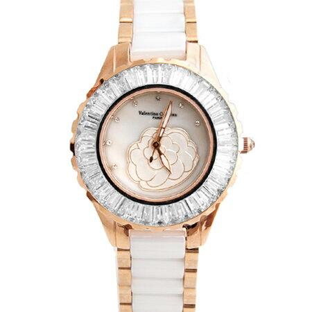 Valentino范倫鐵諾 獨特浮雕山茶花方晶鋯石玫瑰金精密陶瓷手錶腕錶 柒彩年代【NE1252】單支價格 0