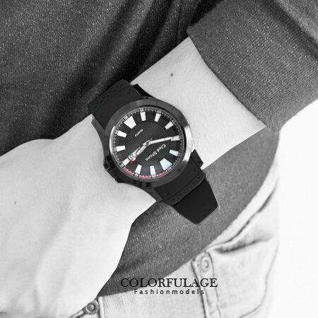 手錶 極限時光 型男運動編織紋雙圈錶盤矽膠腕錶 休閒時尚 柒彩年代【NE1241】不銹鋼錶殼 0