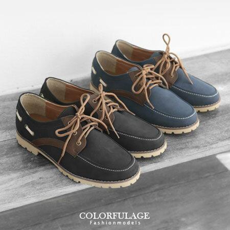 韓版帆船鞋 麂皮材質實用耐穿型男鞋子綁帶低筒 柒彩年代【NR13】MIT台灣品牌 0