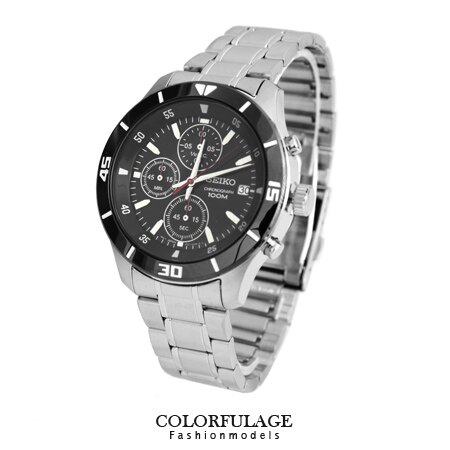 SEIKO精工黑框黑面三眼計時賽車腕錶 防水高達100米不銹鋼手錶 柒彩年代【NE1261】附贈禮盒+提袋 0
