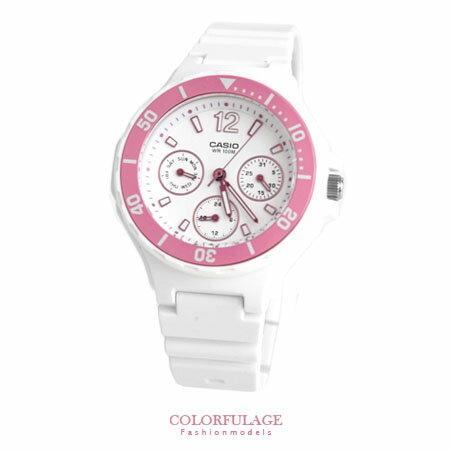 CASIO卡西歐 粉嫩春漾 粉白真三眼設計手錶 甜心女孩腕錶 有保固 柒彩年代【NE1279】原廠公司貨 0